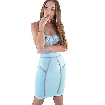 Robe Bandage bleu menthe Lovemystyle avec panneaux nervuré