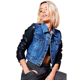 Lovemystyle Cropped Denim Jacket With Faux Leather Sleeves