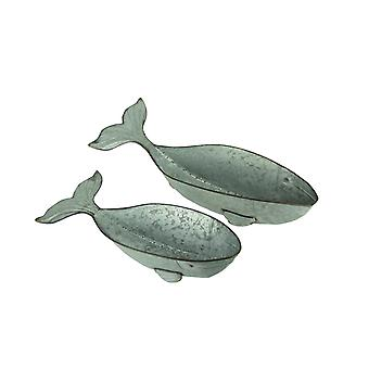 Galvanized Metal Coastal Decor Whale Planters Set of 2