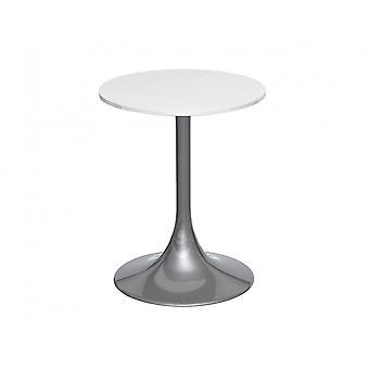Gillmore Voetstuk Side Table Witte Glans en Gerookt chroom