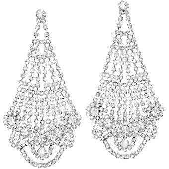 Eternal Collection Hollywood Diamante Silver Tone Drop Pierced Earrings