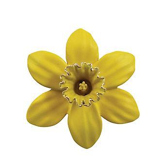 Eeuwige collectie Daffodil met trompet geel glazuur zilveren Toon Maxi broche