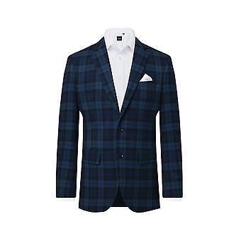 Dobell Boys Blue Tartan Suit Jacket Regular Fit Notch Lapel