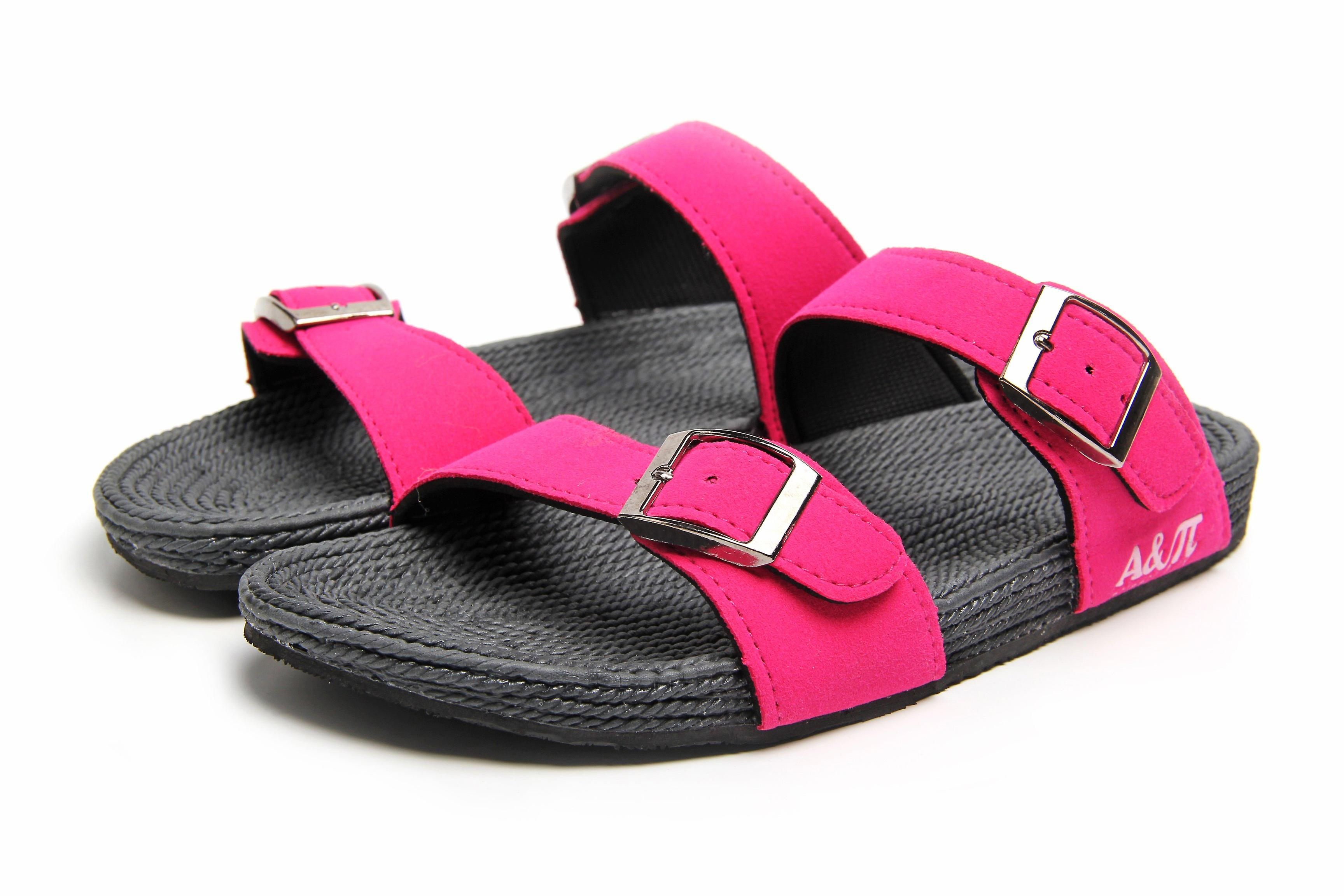 Dual band fuchsia-grey sandals