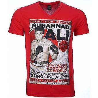 Camiseta-Muhammad Ali Impreso-Rojo