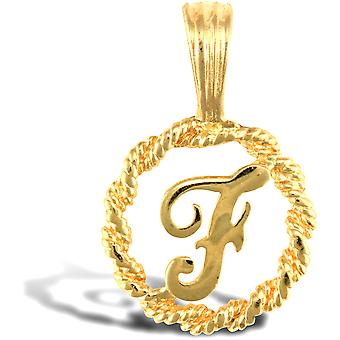 Jewelco London Solid 9ct Yellow Gold Rope Identity Initial Charm Pendant Letter F