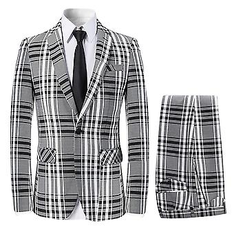 Alle Themen Men's 3-teilige Anzüge Plaid Business Casual Blazer & Weste &Hose