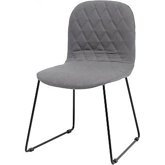 Balance Furniture Grey Quilted Dining Chair With Black Metal Legs