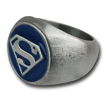 Superman gebürstet Nickel blau geprägt Ring