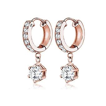 Elli Hoop earrings with Women's Pendant in Silver 925 - Pink Gold Plates with Round Cubic Zirconia