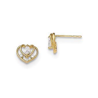 14k keltainen kulta kiillotettu CZ Cubic Zirkonia Simuloitu Diamond Double Love Heart pojille tai tytöille Post korvakorut