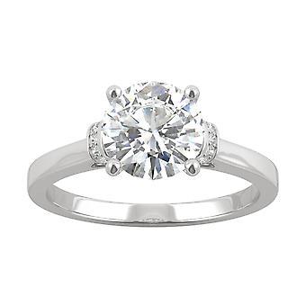 14K White Gold Moissanite door Charles & Colvard 7.5 mm ronde Verlovings ring, 1.59 cttw dauw