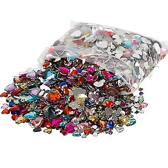 Bulk 2520 Assorted Heart Shaped Rhinestone Jewels for Crafts