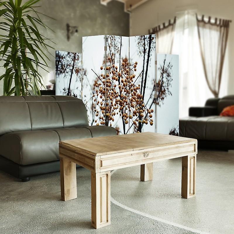 Diviseur de salle décorative, 5 panneaux, double-sided, toile, arbres fruitiers 2