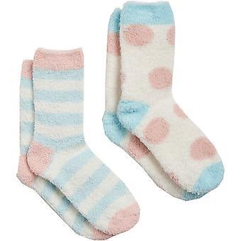 Joules Womens Shorties Fluffy Super Soft 2 Pack Socks