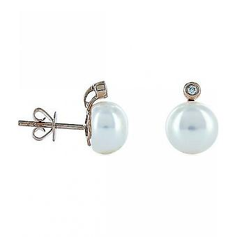 Luna-Pearls Pearl StudS Freshwater Pearls 8-8.5mm 585 Rose Gold 2 Brilliants 0.03ct. 1023010