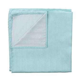 Aqua Herringbone Silk Pocket Square