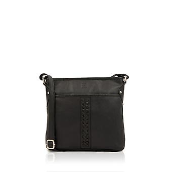 Plaited Leather Cross Body Bag in Black