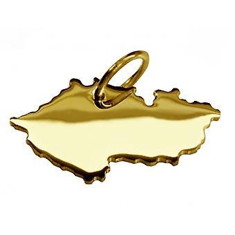 Hänge karta kedja hänge i guldgult-guld i form av tjeckiska
