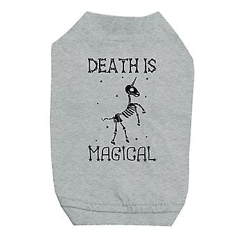 Death is Megical Unicorn Skeleton Halloween Grey Pet Shirt for Small Dogs