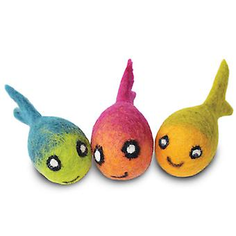 Dharma Dog Karma Cat Pack of 3 Fish Toys For Cats