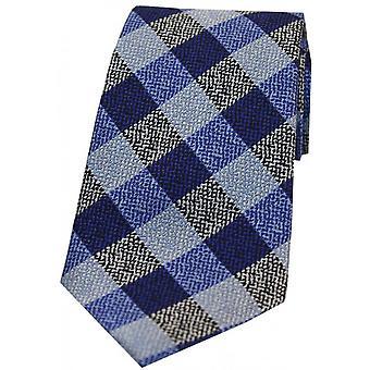David Van Hagen Textured Check Silk Tie - Blue