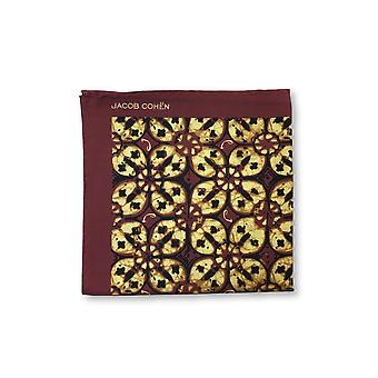 Jacob Cohen Pocket Square in burgundy/yellow abstract repeat design