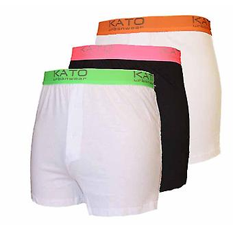 Mens Kato Neon W-Band 100% Cotton Boxer Short 3 PK