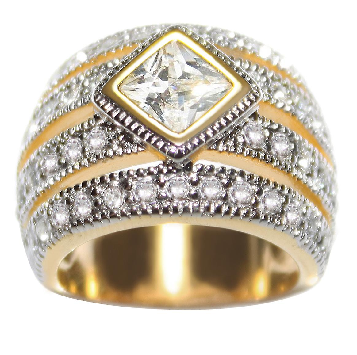 Ah! Jewellery Princess Cut 6.6mm Simulated Diamonds Ring, Lovely Two Tone Design. Outstanding Quality Fashion Jewellery.
