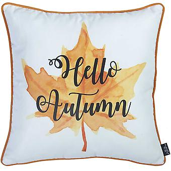 "18""x 18"" Thanksgiving Leaf Quote Decorative Throw Pillow Cover"
