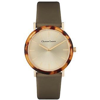 Uhr Christian Lacroix CLW015 - Stahl Stahl Dor rosa Leder Armband grün Cadran Nacr Frauen
