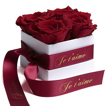 Roses Box White Eternal Roses Durable 3 Years Dark Red Je t'aime Gift