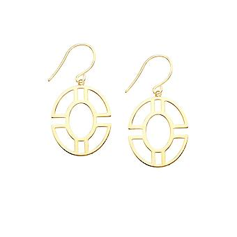 14k Yellow Gold Round Molded Geometric Frame Long Drop Dangle Earrings Jewelry Gifts for Women