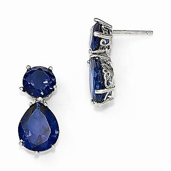 11mm Cheryl M 925 Sterling Silver Simulated Blue Spinel Post Long Drop Dangle Earrings Jewelry Gifts for Women