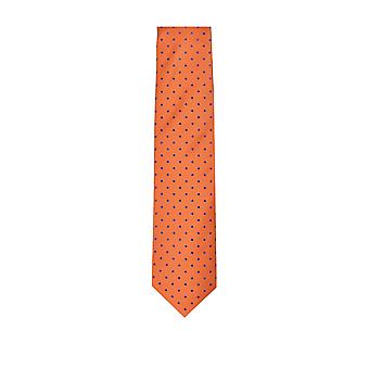 Eton Silk Tie Orange/blue Spot