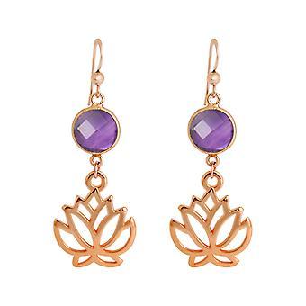 Gemshine øreringe lotus blomster ametyst øreringe i sølv, forgyldt eller rose