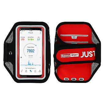 Waterproof Sports Armband for Smartphone Touchscreen Card Holder-Baseus, Red