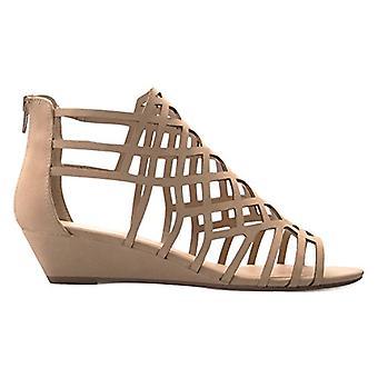 Olivia K Women's Strappy Wedge Sandals - Peep Open Toe Zip Closure - Kitten L...