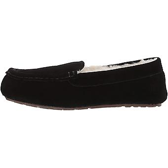 Amazon Essentials Women's Leather Moccasin Slipper, Black, 6 M US