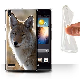 STUFF4 Gel TPU Case/Cover for Huawei Ascend P6/Coyote/North America Animals