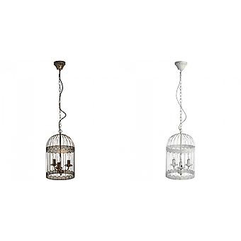 Hill Innenräume weiß drei Lampe Metall Vogelkäfig Kronleuchter (weiß/schwarz)