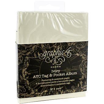Graphic 45 ATC Rectangle Tag & Pocket Album Ivory