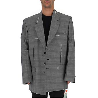 Off-white Omef041f19a740030600 Men's Grey Wool Blazer
