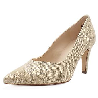 Peter Kaiser Elektra Dressy Pointy Toe Mid Heel Court Shoes In Sand Tiles