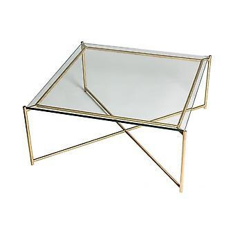 Gillmore kirkas lasi neliö sohvapöytä messinki rajat pohja