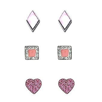 TOC Sterling Silver Rhombus, Square & Heart Stud Earrings - 3 Pairs