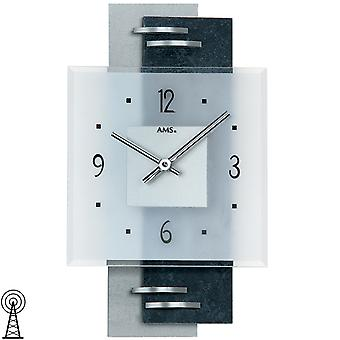 AMS 9245 wall clock quartz analog silver modern with slate and glass slate clock