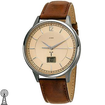 JOBO Men's Wristwatch Funk Titanium Leather Strap Brown with Date