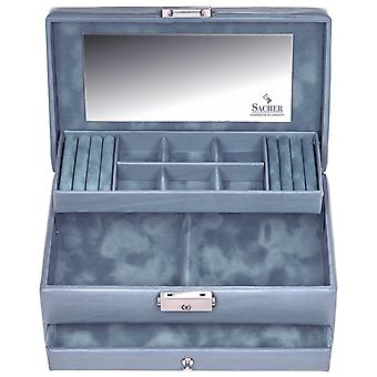 Sacher sieraden geval sieraden doos PASTELLO blauwe slot spiegel lade