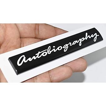 Range Rover Black/White AUTOBIOGRAPHY Rear Boot Badge Emblem 110mm x 20mm